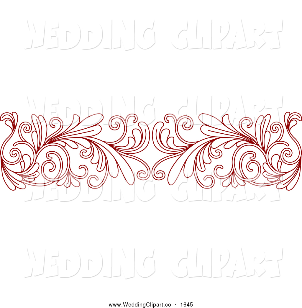 Clipart Of A Red Floral Border Wedding Design Element By Seamartini