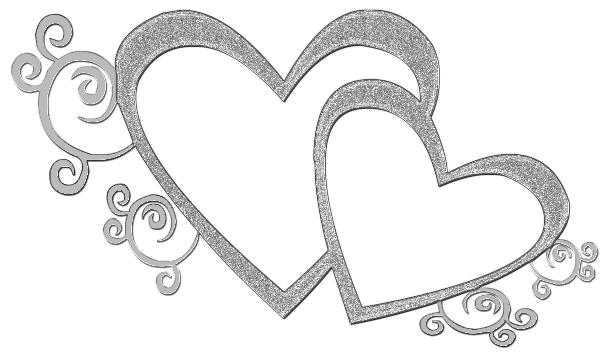 Displaying 18  Images For   Double Heart Clipart Black And White