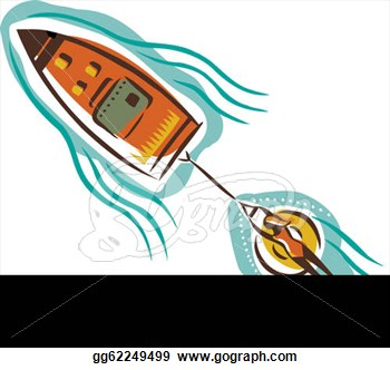 Drawing   A Woman On An Inner Tube Attached To A Boat  Clipart