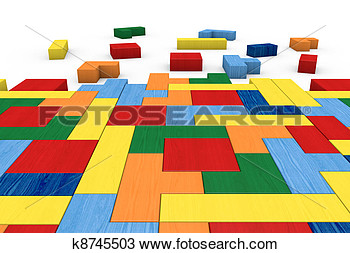 Drawing Of Wooden Block Puzzle K8745503   Search Clipart Illustration