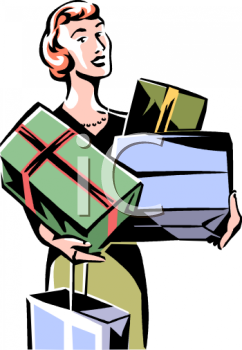 Elegant Retro Lady Shopper Christmas Shopping   Royalty Free Clipart