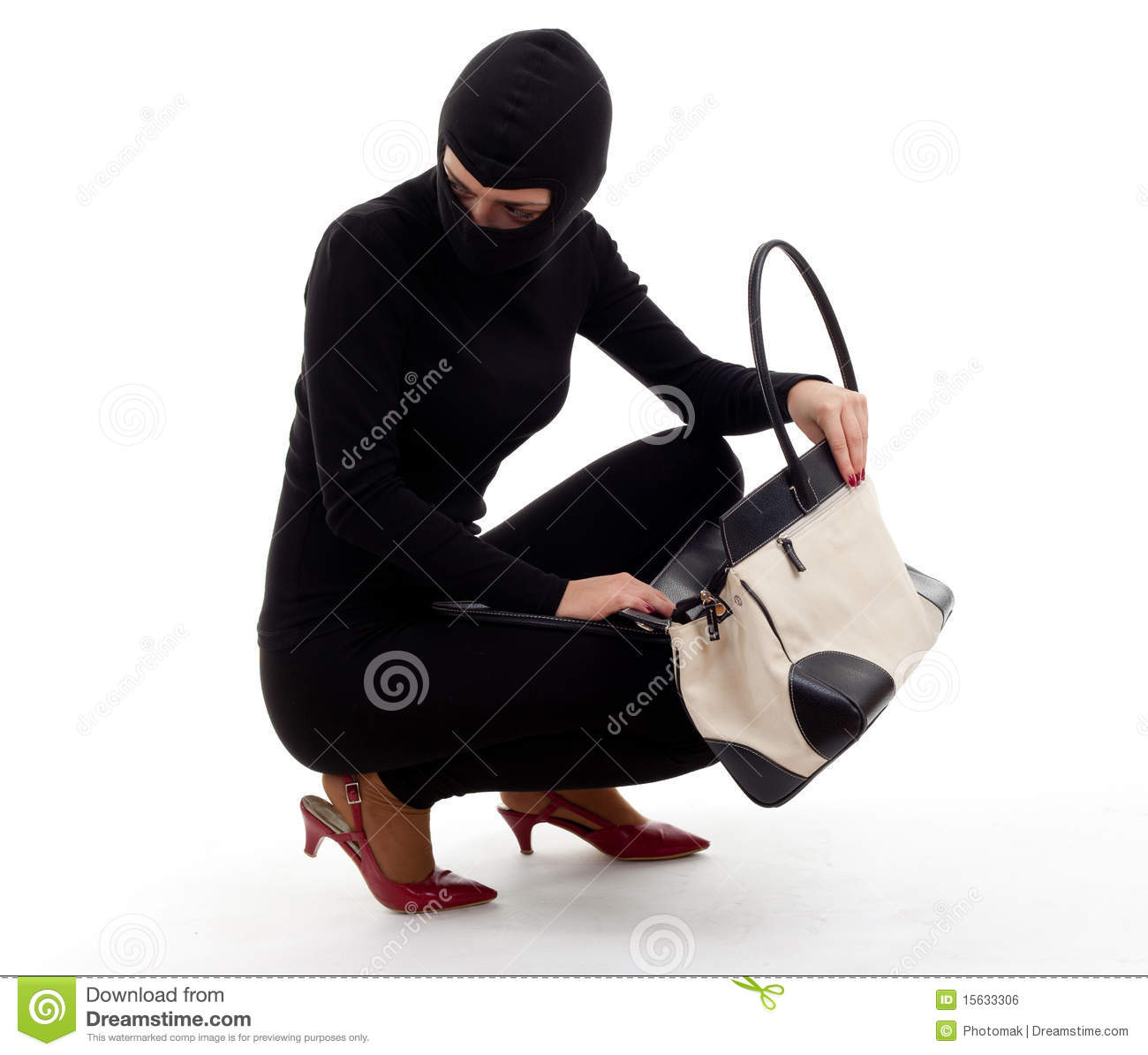 Female Thief Clipart Female Thief With Stolen Bag