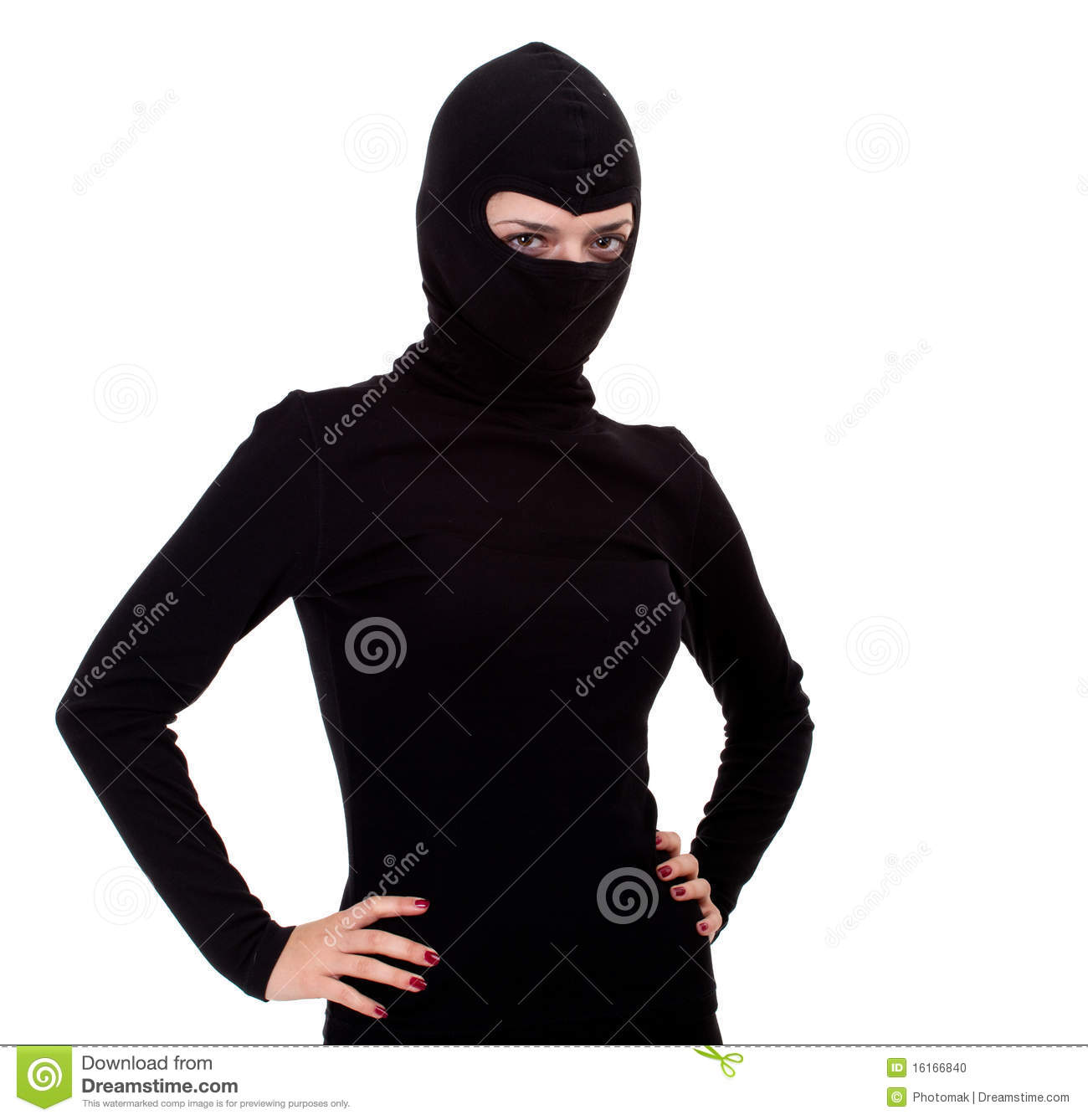 Female Thief In Black Clothes And Balaclava Stock Photo   Image