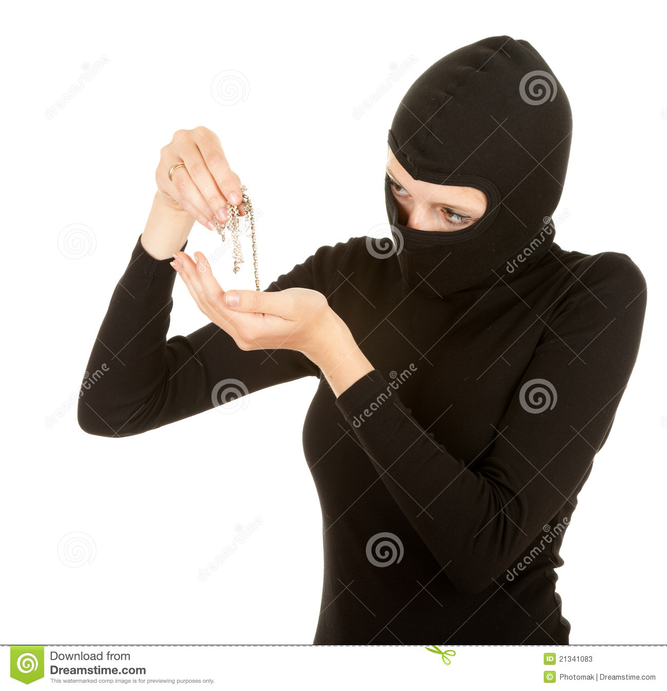 Female Thief In Black Clothes And Balaclava Stock Photos   Image