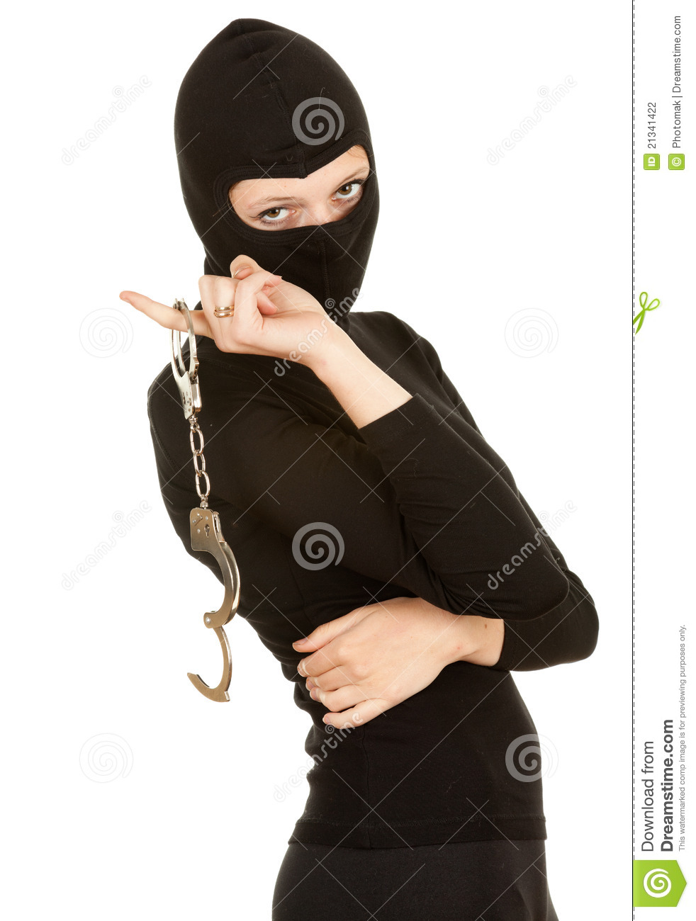 Female Thief With Handcuffs Stock Photography   Image  21341422