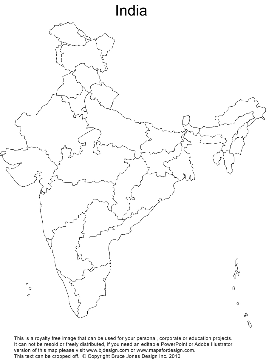 Free Printable Blank India Map With Administrative Districts