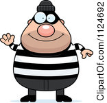 Happy Chubby Burglar Or Robber Man Waving Royalty Free Vector Clipart