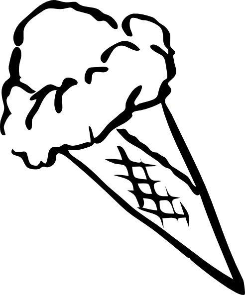 Ice Cream Cone Black And White   Clipart Best