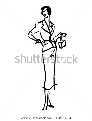 Lady 1   Retro Clipart Illustration   64978951   Shutterstock