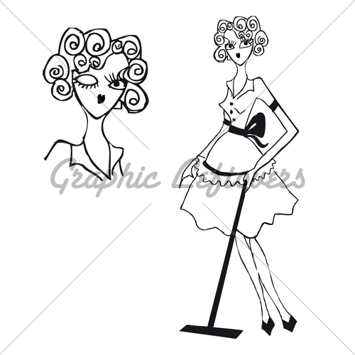 Lady Cleaning Floor Retro Clipart Vintage Doodley Tattoo       Gl