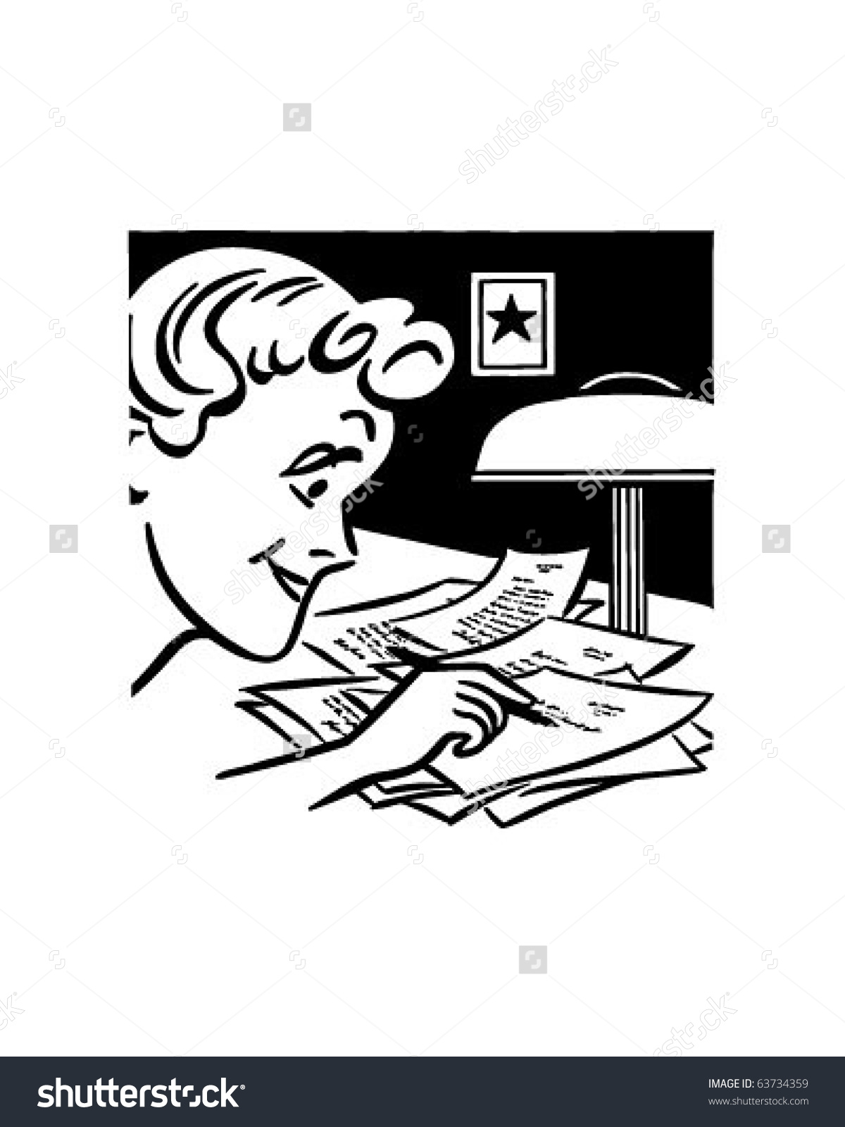 Lady Writing A Letter   Retro Clipart Illustration