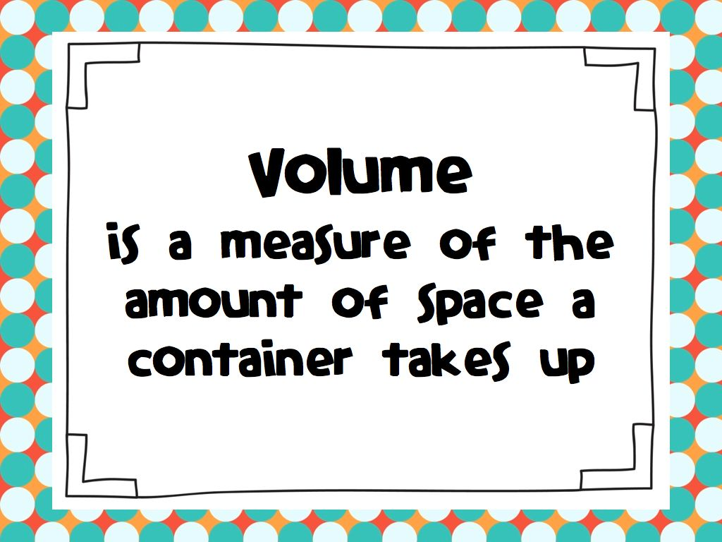 Math Volume Clipart Volume Measurement Capacity