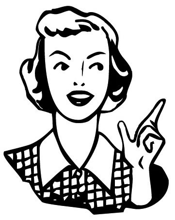 Pictures Data 500 22887 27nov10 Retro Woman Pointing Clipart Bw Jpg