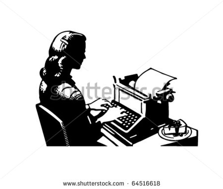 Retro Lady Typist   Clipart Illustration   64516618   Shutterstock
