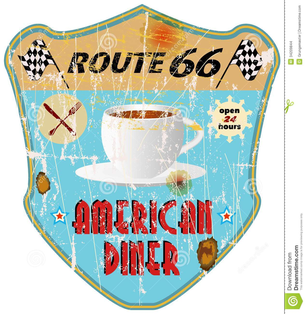 Route 66 Vintage Diner Sign Nostalgic Grungy Style Vector Eps