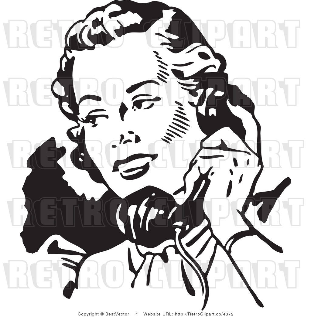 Royalty Free Retro Lady Talking On A Phone By Bestvector    4372
