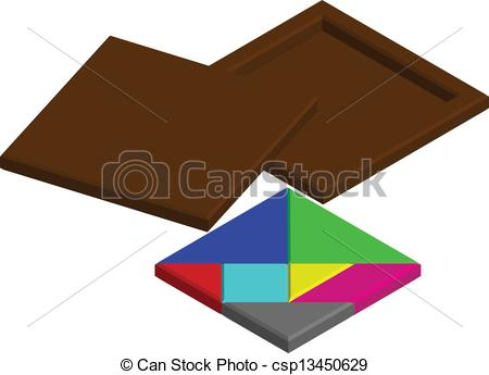 Vector   Chinese Tangram Puzzle Near A Wooden Box   Stock Illustration