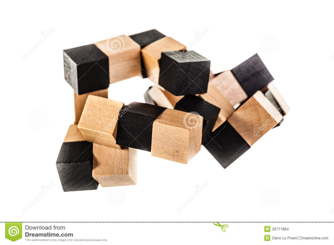 Wooden Puzzle Isolated Over A White Background