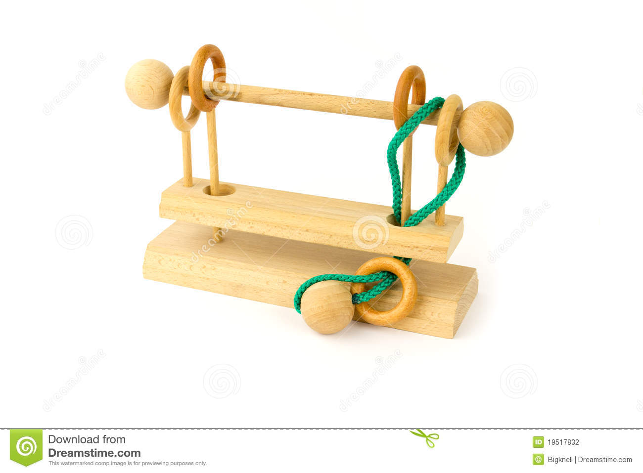 Wooden Puzzle With A Green Cord On A White Background