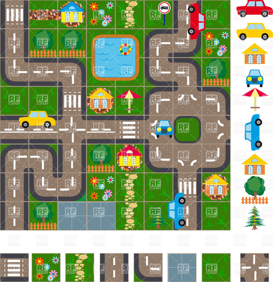 City Streets Of Small Town Download Royalty Free Vector Clipart  Eps