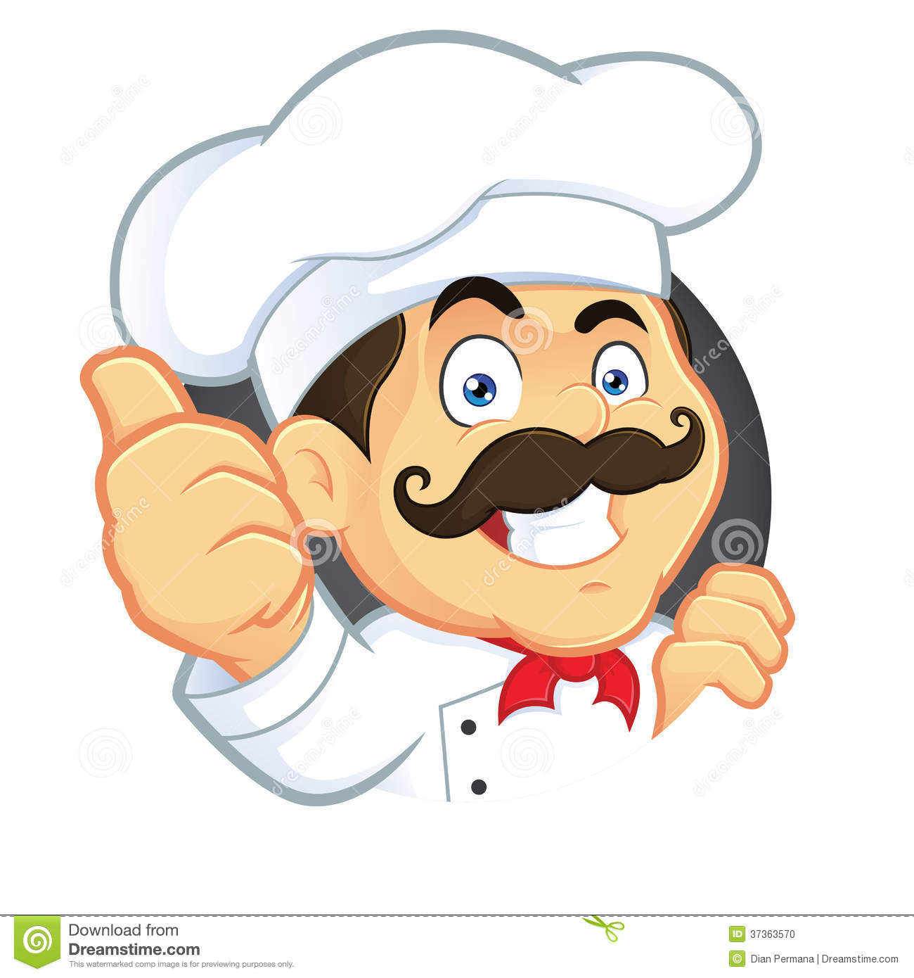 Clipart Picture Of A Chef Cartoon Character Giving Thumbs Up