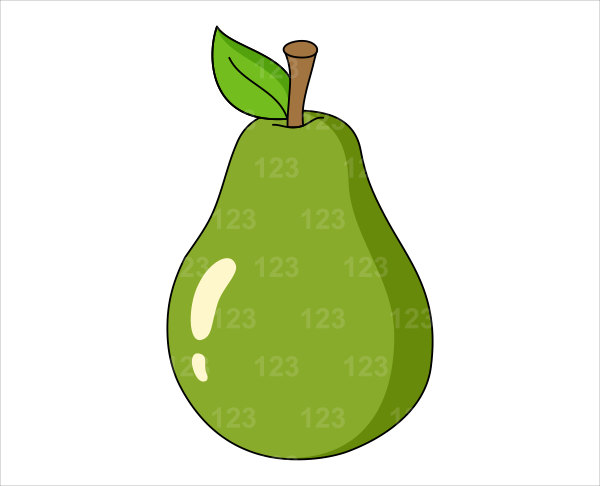 Pears Fruit Clipart Fruits Green Pear Single