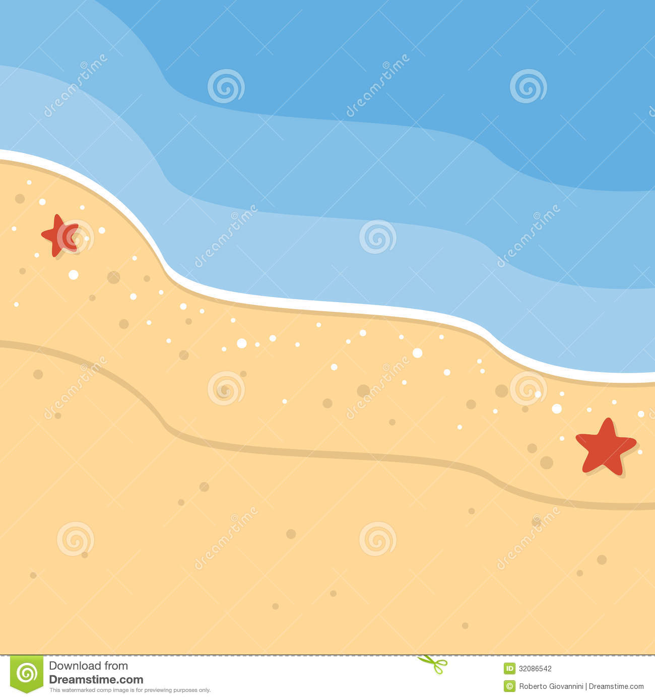 Sand Beach Tropical Seashore Background With Starfish And The Sea