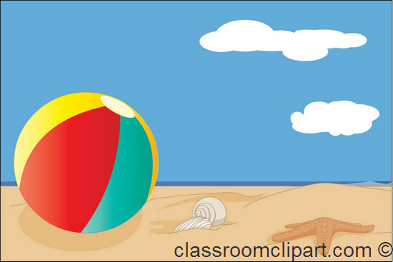 Summer   Beach Ball On Sand 08   Classroom Clipart