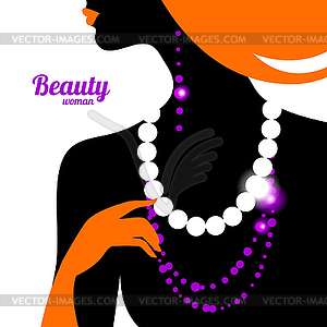 Beautiful Woman Silhouette   Stock Vector Clipart