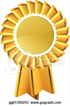Eps Vector   Gold Award Medal Rosette  Stock Clipart Illustration
