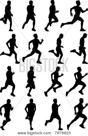 Picture Or Photo Of Running Man Black Silhouettes Sixteen Different