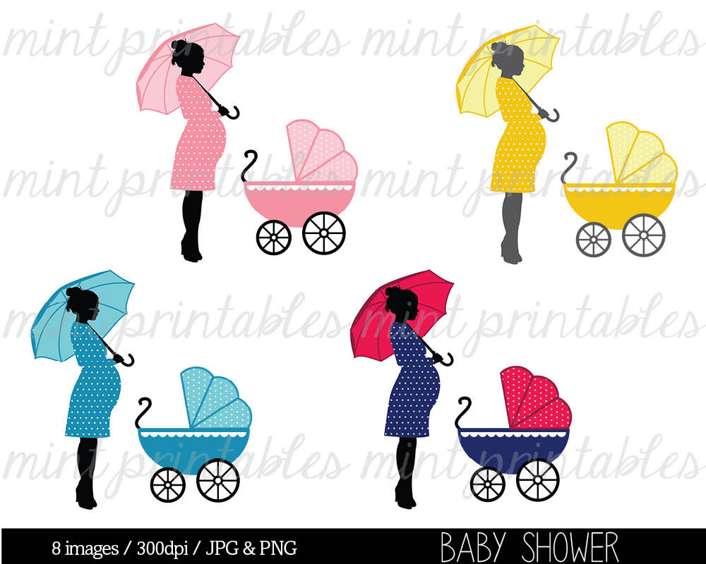 Pregnant Diva Silhouette Clip Art Baby Shower Clipart Baby Boy