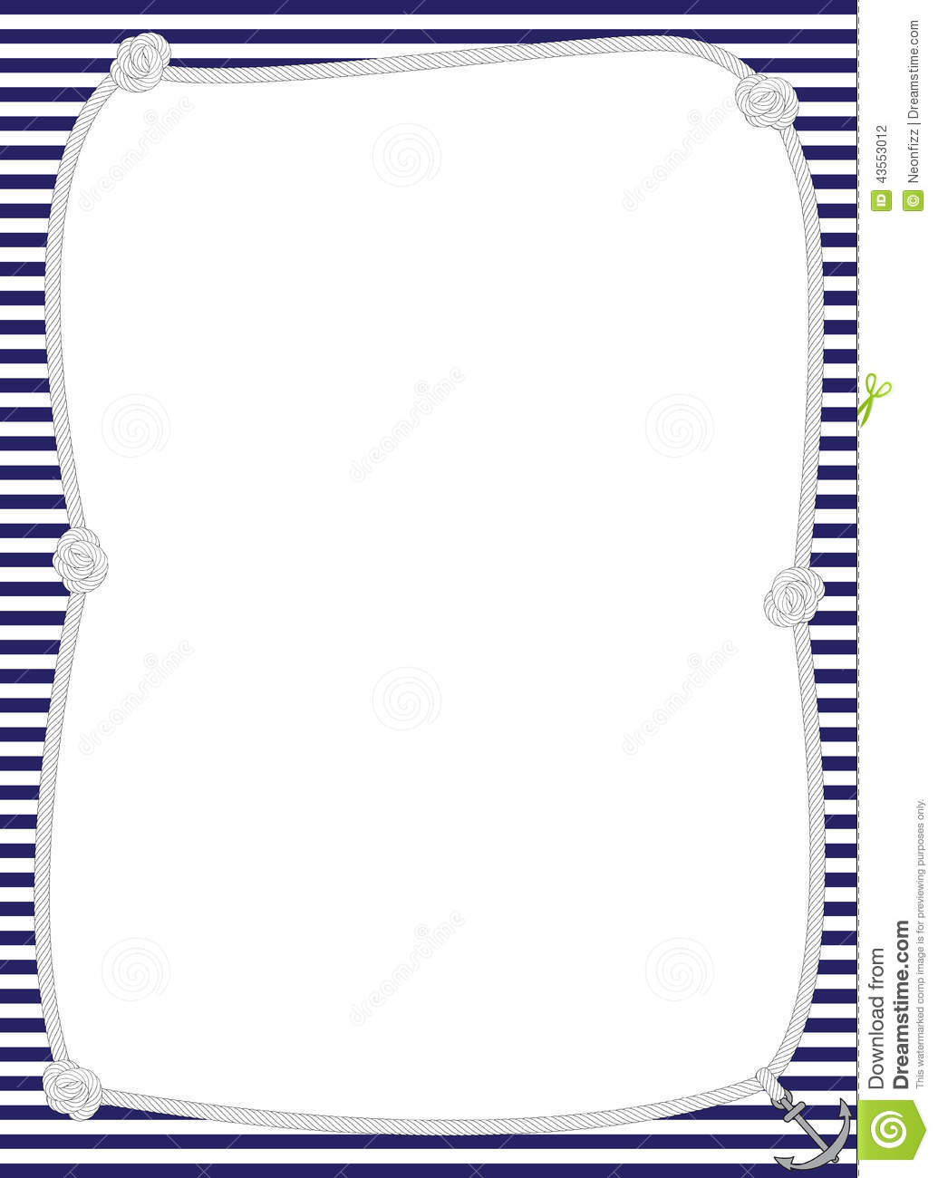 Rope Border With Navy Striped Background For Nautical Themed Designs