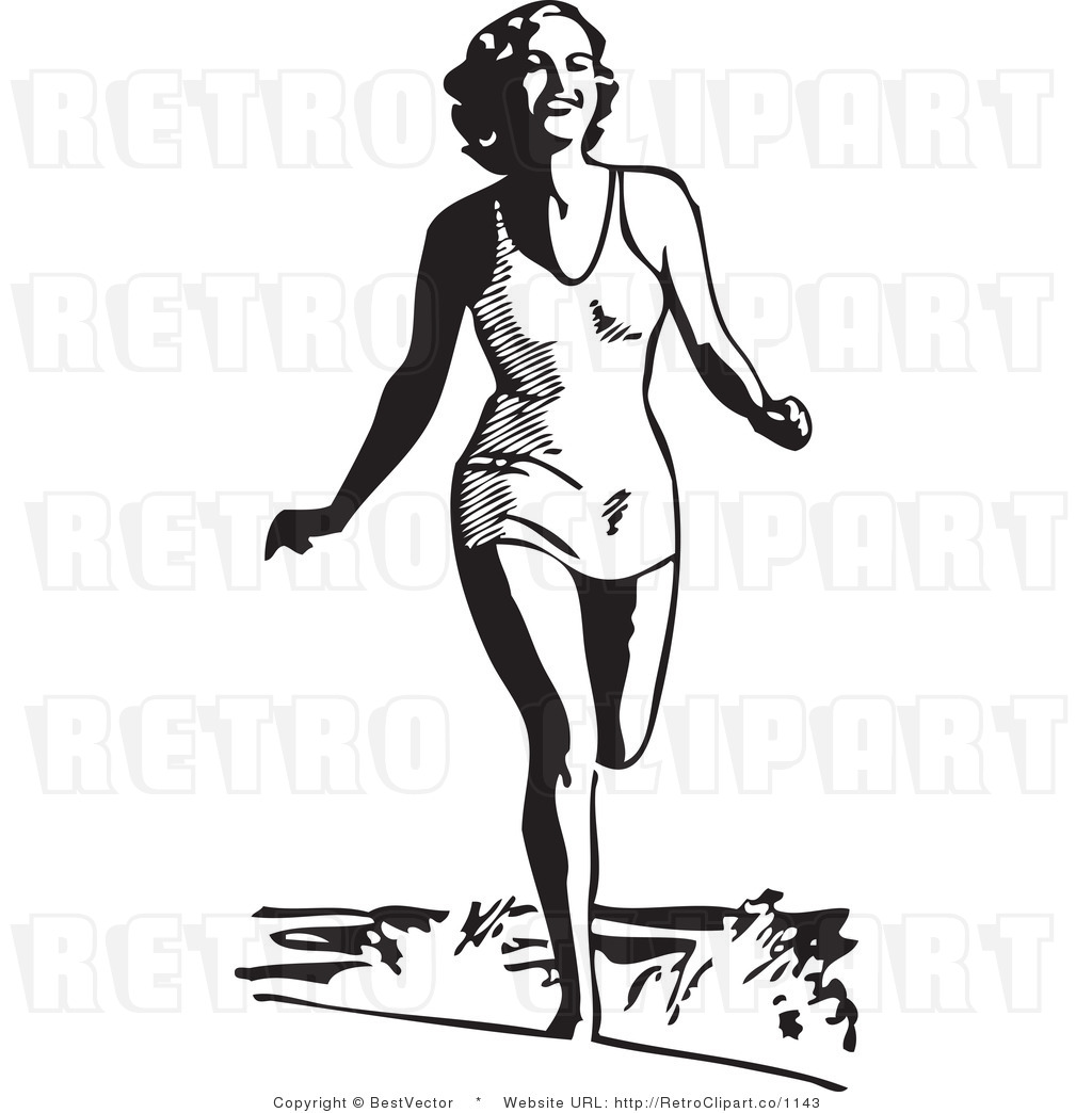 Royalty Free Black And White Retro Vector Clip Art Of A Beach Beauty