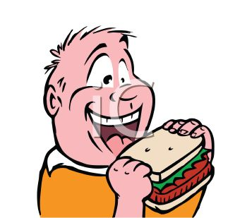 Royalty Free Clip Art Image  Chubby Kid Eating A Sandwich