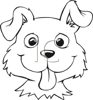 Royalty Free Clipart Image  Black And White Cartoon Of A Dog Face