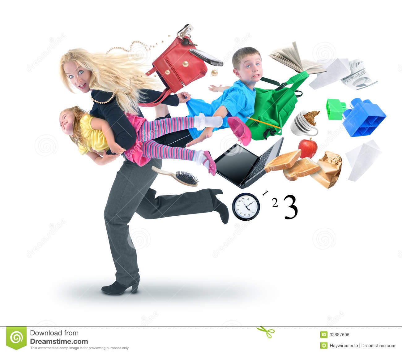 Royalty Free Stock Image  Stress Mother Running Late With Kids  Image