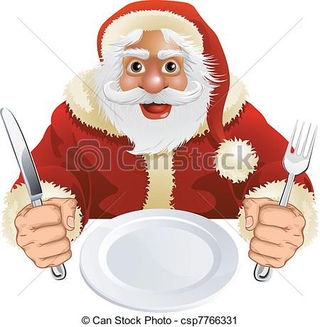 Vector   Santa Claus Seated For Christmas Dinner   Stock Illustration