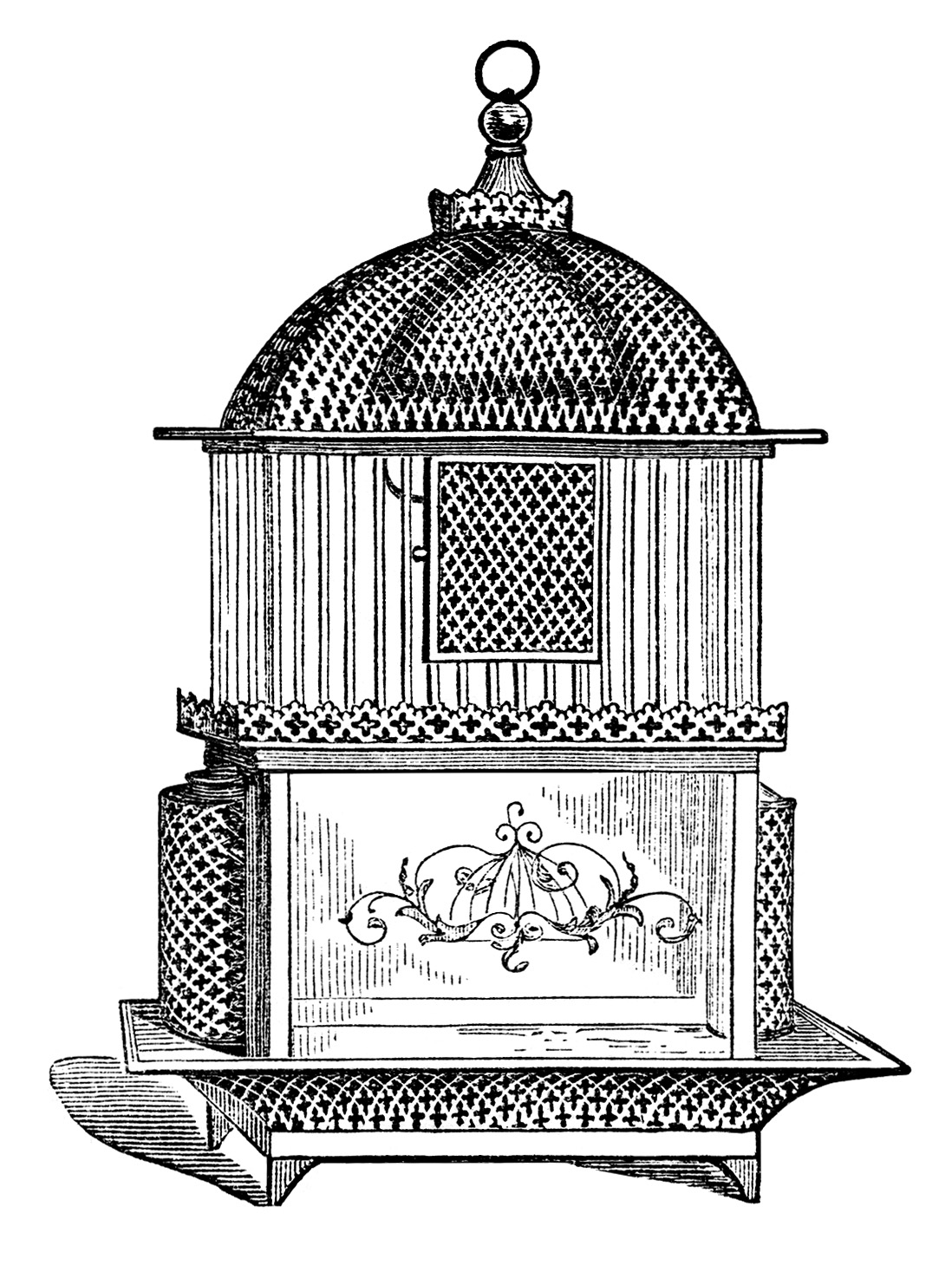 Vintage Birdcage Clipart Black And White Clip Art Printable Bird