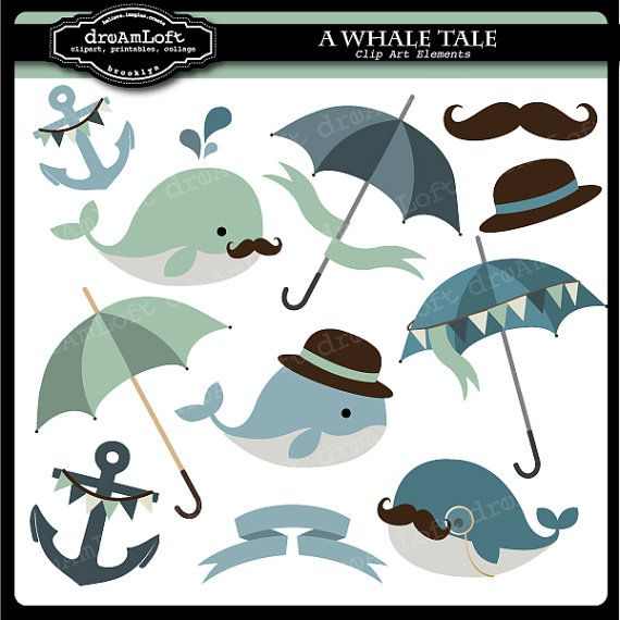 Whale Tale Digital Collage Sheet Clipart For Parties Stationary