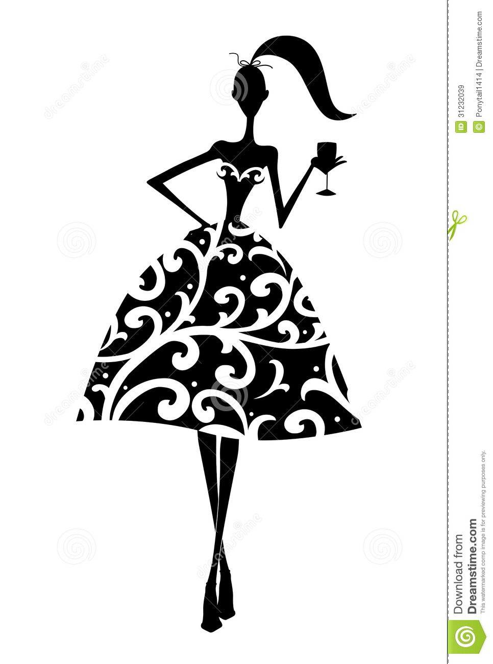 Woman In Dress Silhouette Clip Art Silhouette Of A Girl At A