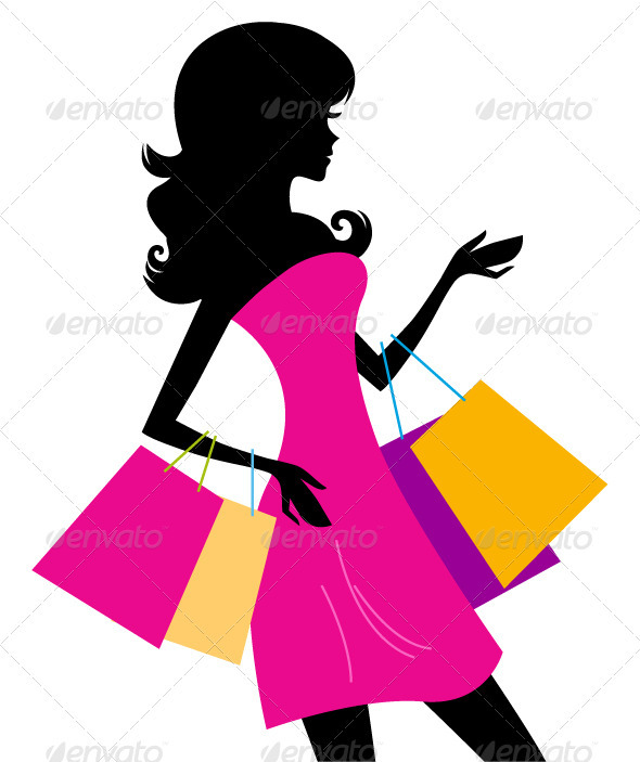 Woman Shopping Silhouette Isolated On White   Commercial   Shopping