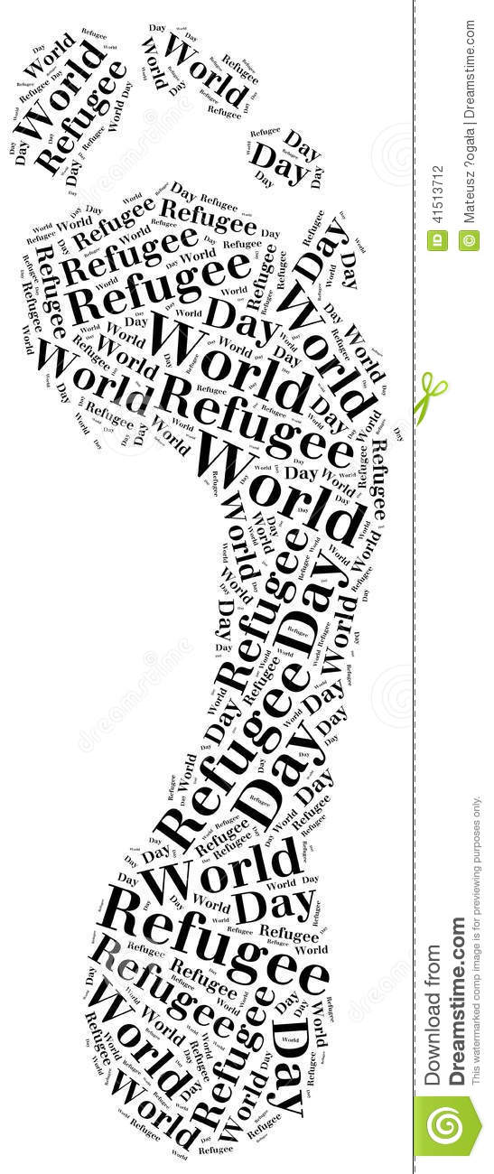 Word Cloud Illustration Related To World Refugee Day Stock