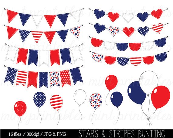 Bunting Clipart Stars And Stripes Clip Art Red White Blue Fourth Of