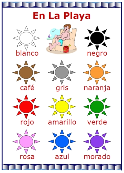 Colors words color clipart clipart suggest for Colors in spanish