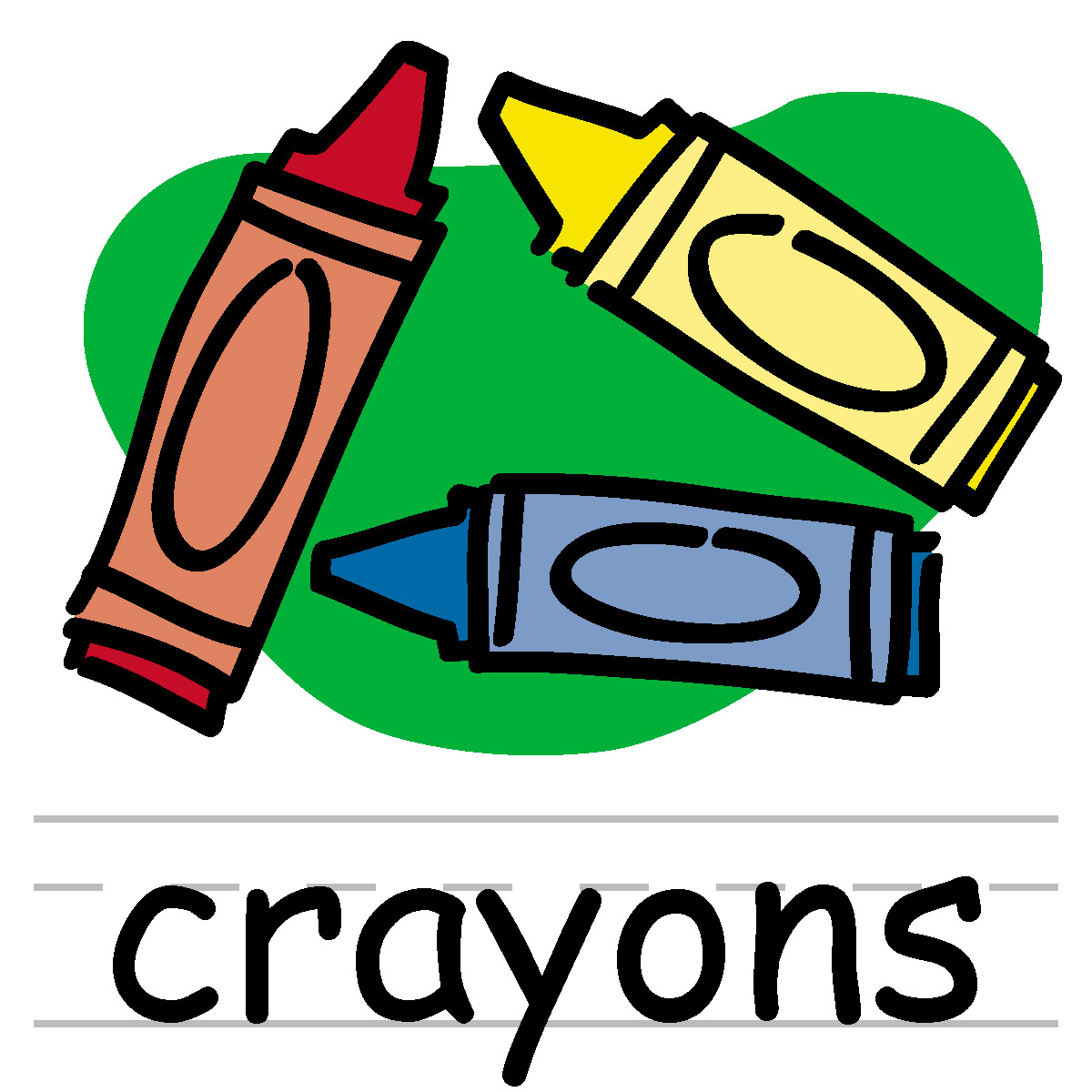 Clip Art  Basic Words  Crayons Color Labeled