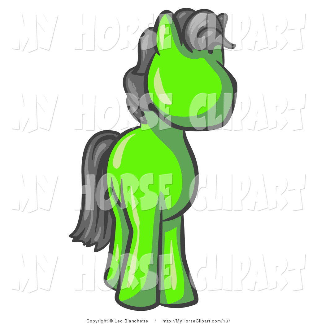 Clip Art Of A Cute Lime Green Pony With A Black Mane And Tail Horse
