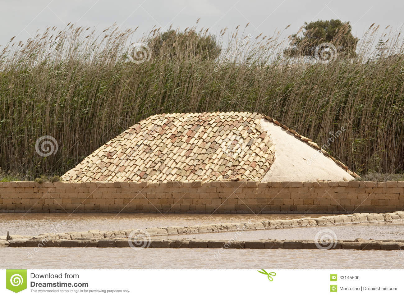 Pile Of Salt Covered With Tiles Marsala Saltern Sicily