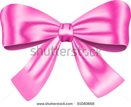 Pink Gift Bow Isolated On White Background  Vector Illustration