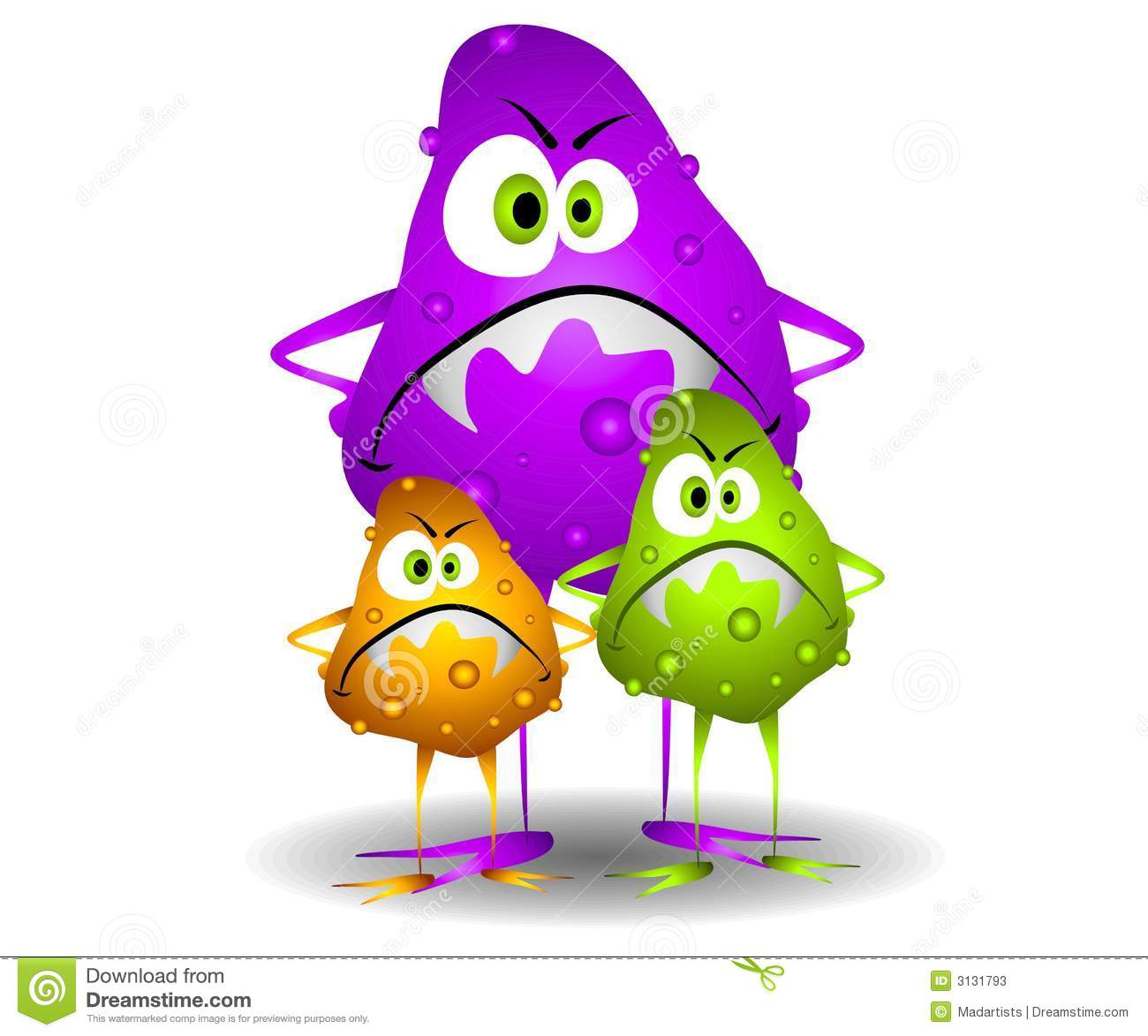 Clip Art Cartoon Illustration Of 3 Nasty Looking Germs Viruses Or